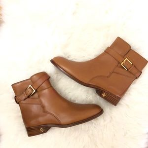 New TORY BURCH Brooke leather tan booties size 8.5